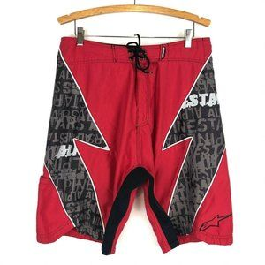 Alpinestars Red Boardshorts w/ Neoprene Panel 34